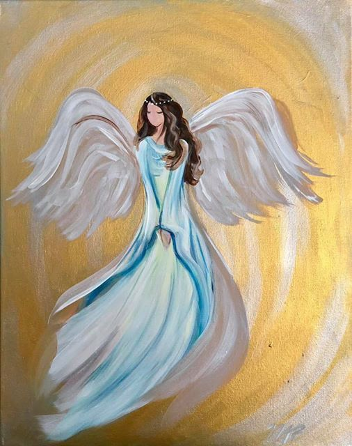 Christmas Angel Painting at The Threshold Art Gallery18 East