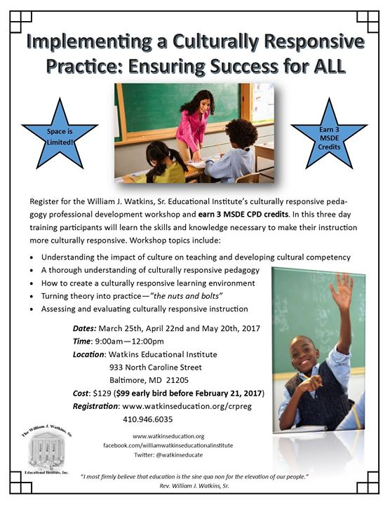 Spring Culturally Responsive Pedagogy Workshop At The William J