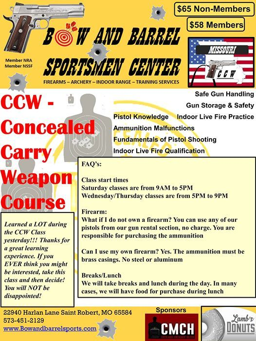 Apr 13 - CCW - Conceal and Carry a Weapon at Bow and Barrel