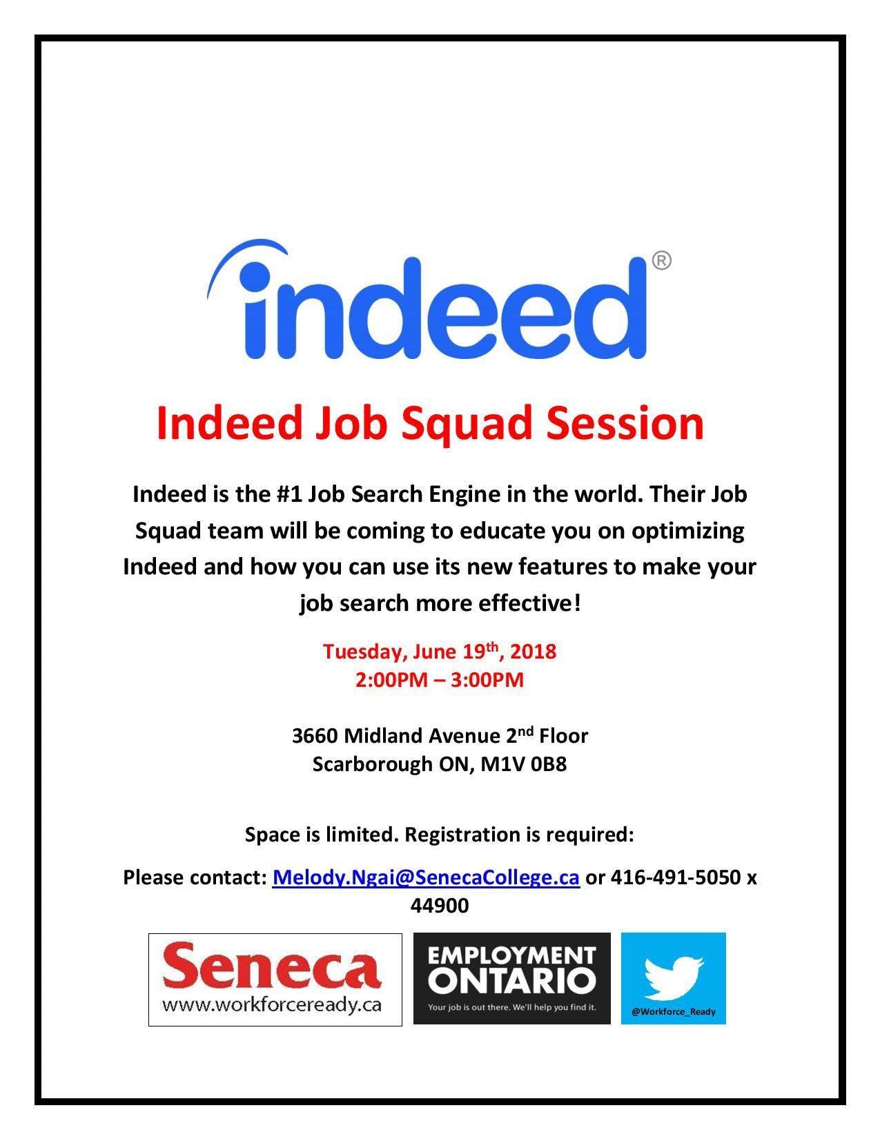 Indeed Job Squad Session at Seneca Employment Services, Toronto