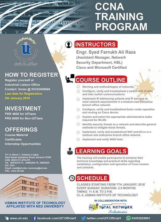 CCNA Training Program at Usman Institute of Technology - UIT