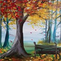 Paint Nite - Waiting on Park Bench