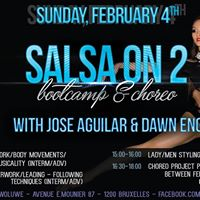 Salsa on 2 Bootcamp choreo with Jose Aguilar and Dawn Eng