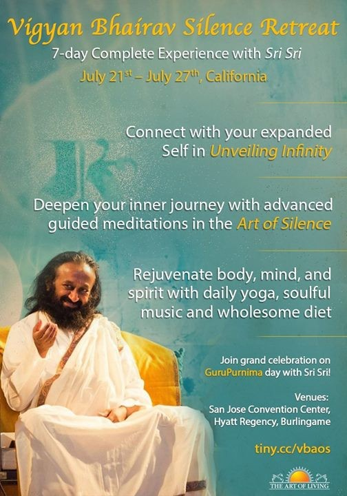 Art Of Silence Retreat + Vigyan Bhairav With Sri Sri Ravishankar At The Art  Of Living ( San Francisco Bay Area), California