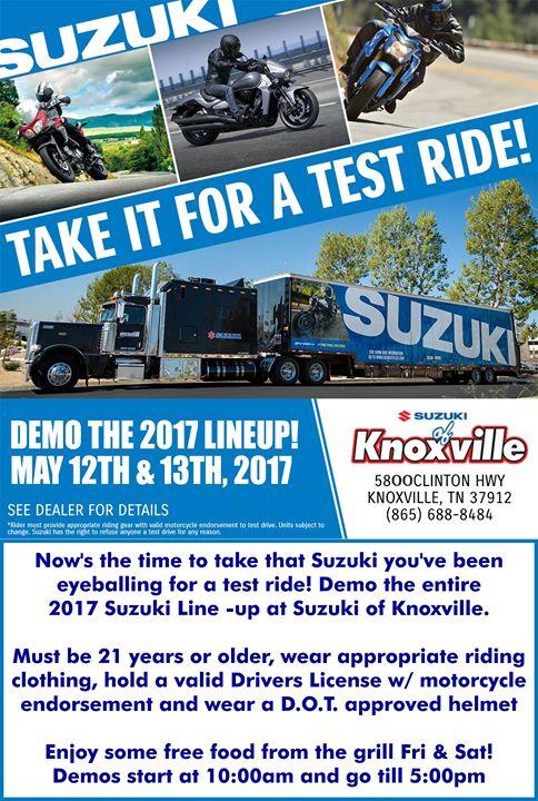 Suzuki demo truck at honda yamaha suzuki of knoxville for Honda and yamaha of knoxville