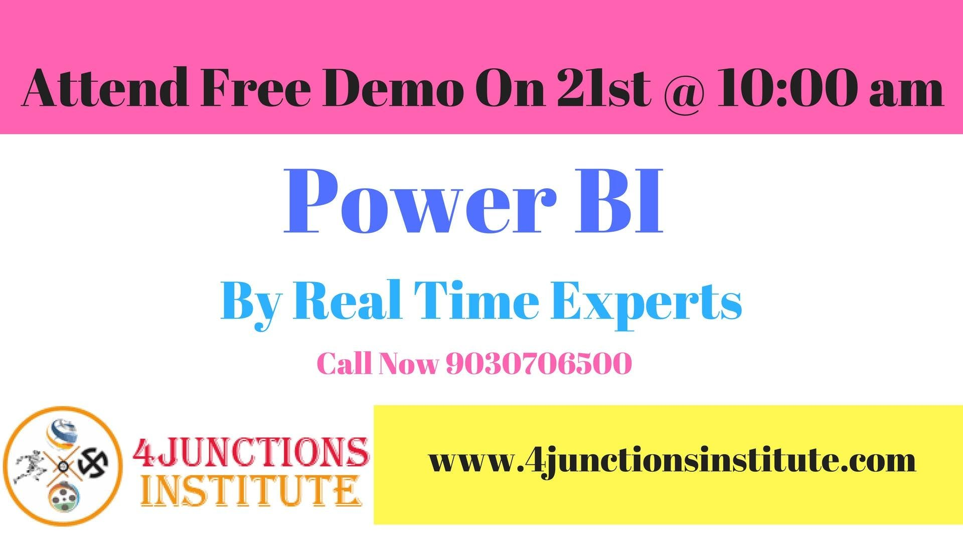 Power Bi Training And Certification Free Demo At 4 Junctions Hyderabad