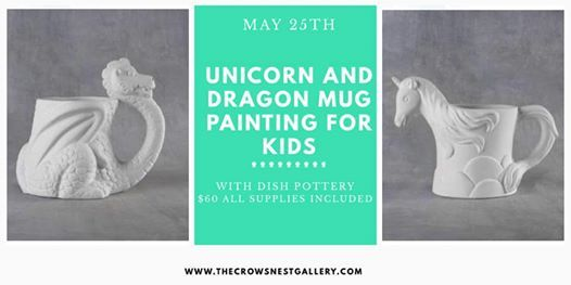 Kids mug painting with Dish Pottery