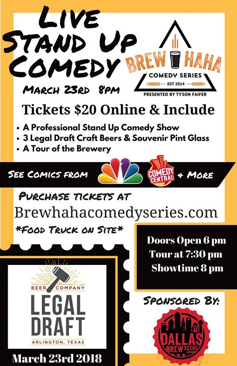 Brew-HaHa Comedy Series at Legal Draft Beer Co