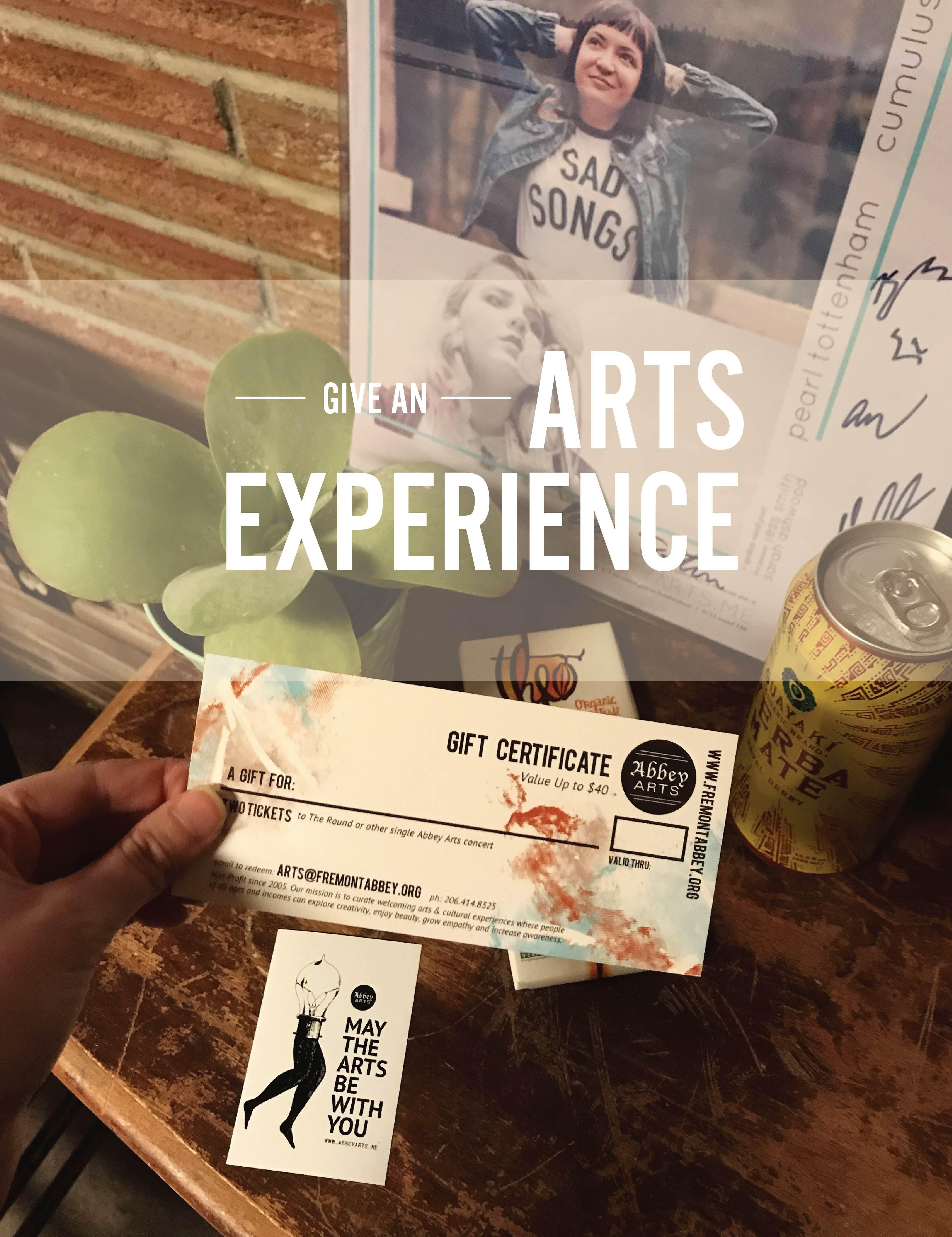 Arts Experience Gift Certificate Concert Tickets