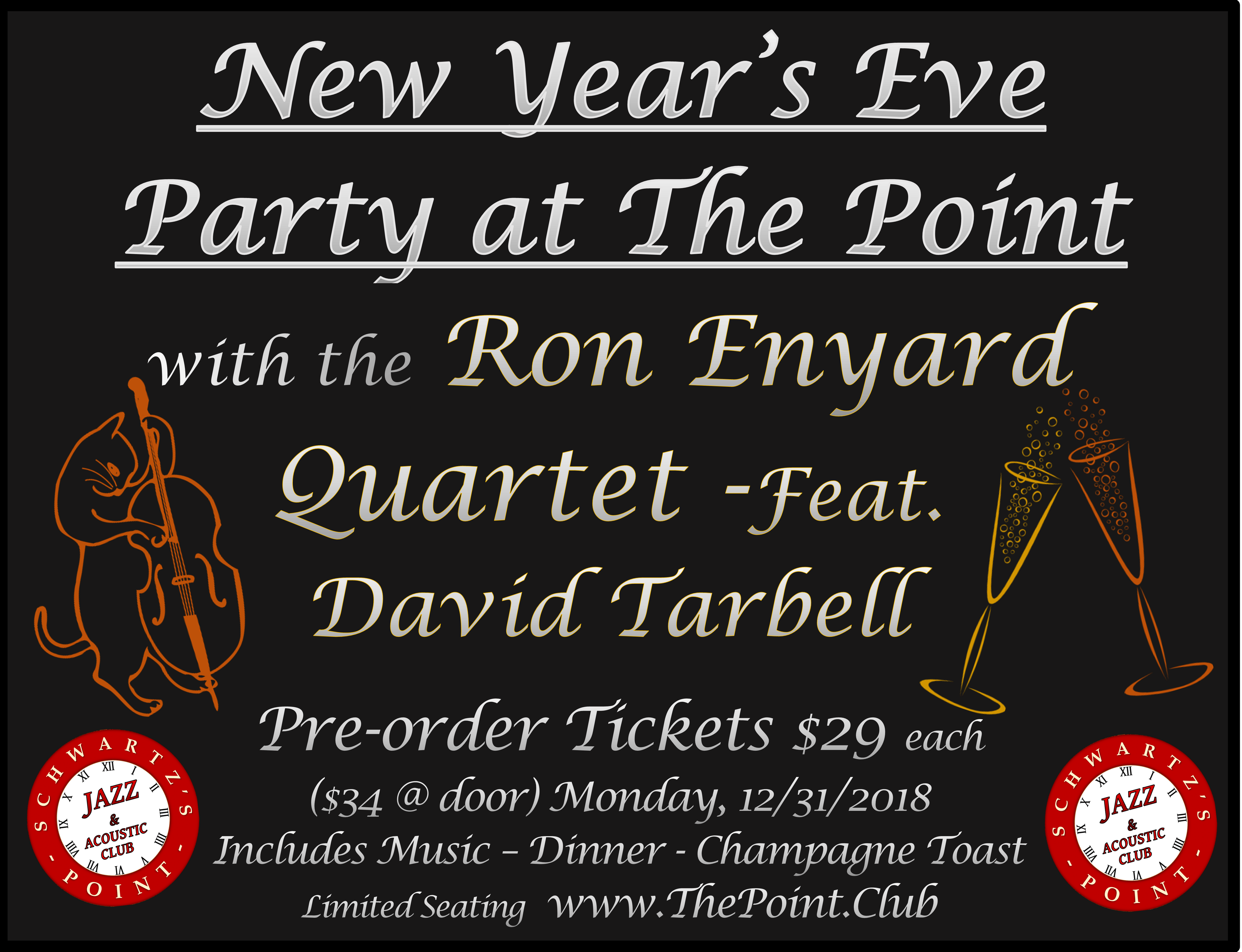 The Points New Years Eve Party with the Ron Enyard Quartet Feturing David Tarbell Vocals