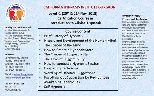 Level-1 Introduction to Clinical Hypnosis at California
