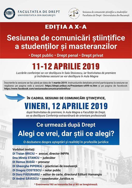 Sesiunea de comunicari stiintifice 2019 - Editia a X-a