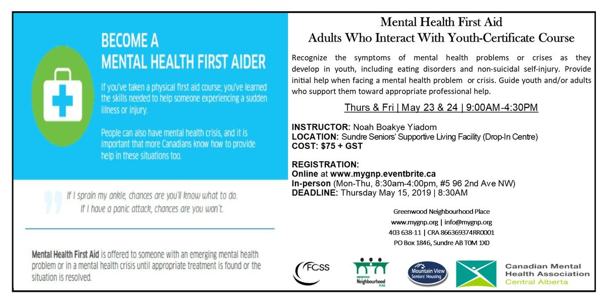 MHFA Certificate Course-Adults Who Interact With Youth at Sundre