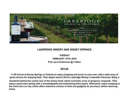 Lakeridge Winery and Shopping Bus Trip