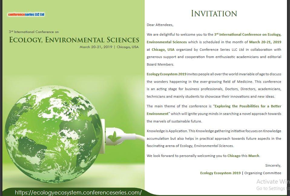 3rd International Conference on Ecology Ecosystem and Conservation Biology (CSE) A
