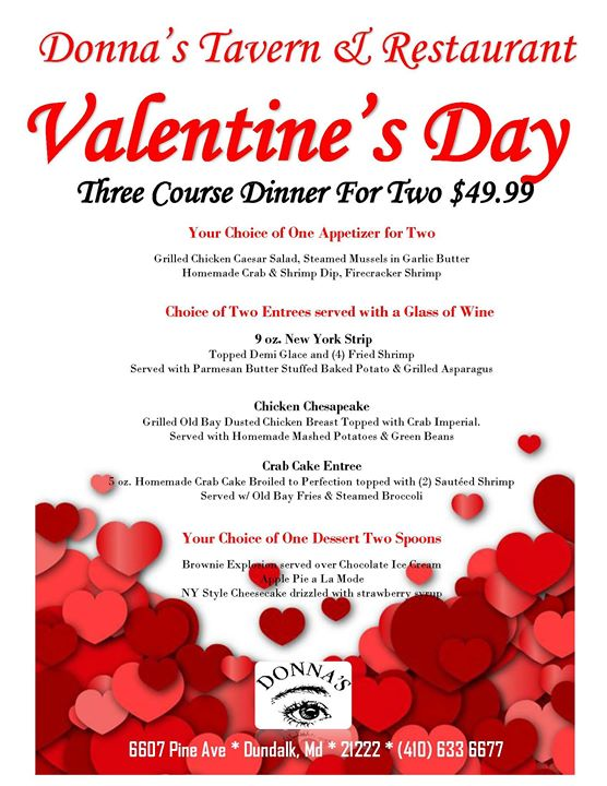 Valentines Day For Two At Donna S Tavern Restaurant Dundalk
