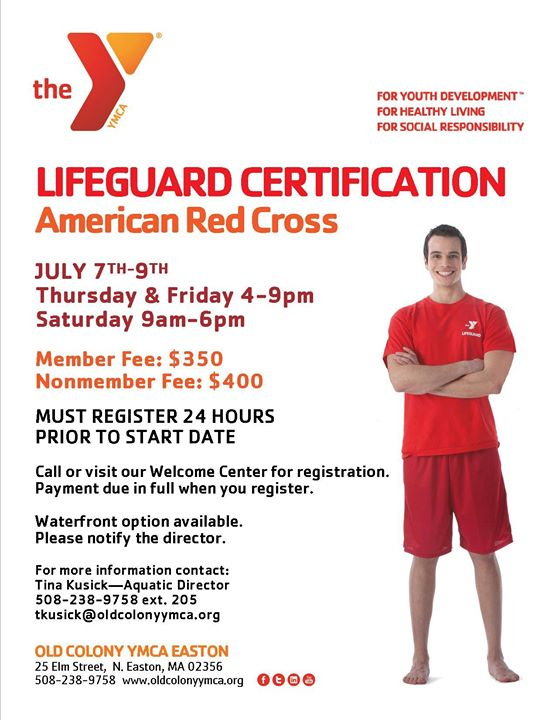 American Red Cross Lifeguard Certification At Old Colony Ymca Easton