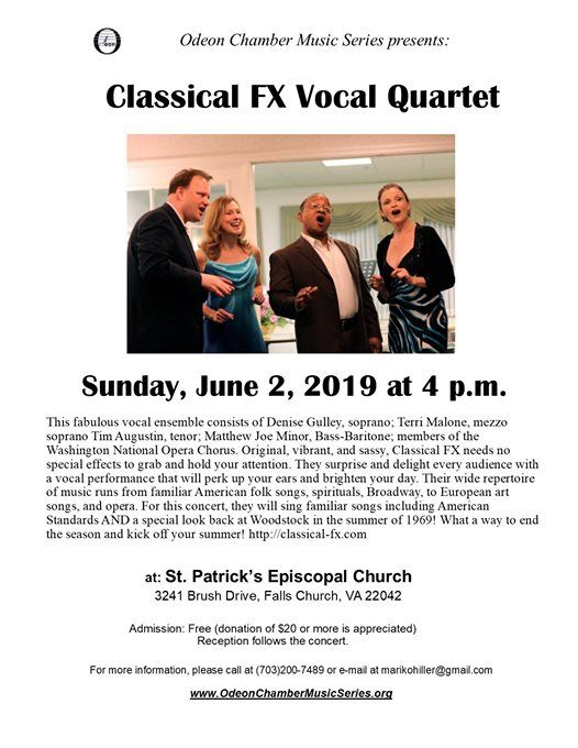 Classical FX Vocal Quartet at Odeon Chamber Music Series