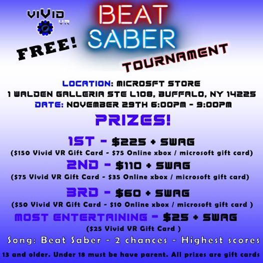 Vivid VR Free Beat Saber Tournament At The Microsoft Store