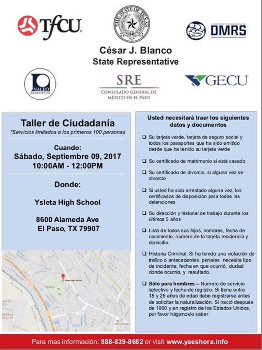 Taller de Ciudadanía at Ysleta High School 8600 Alameda Ave, El Paso ...