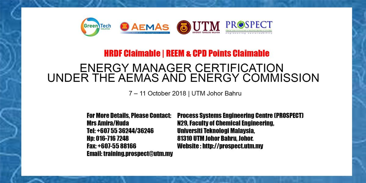 Energy Manager Certification Under The Aemas And Energy Commission