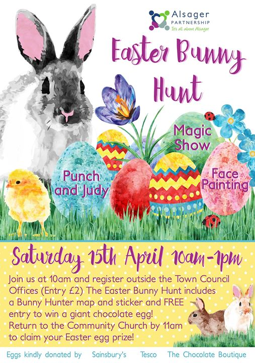 Alsager Easter Bunny Hunt Magic Show Punch Judy Facepainting