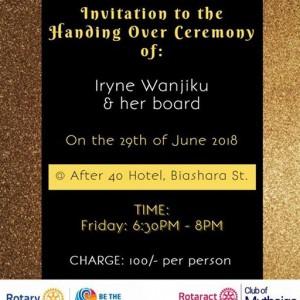 Handing Over Ceremony Iryne Wanjiku &amp Board
