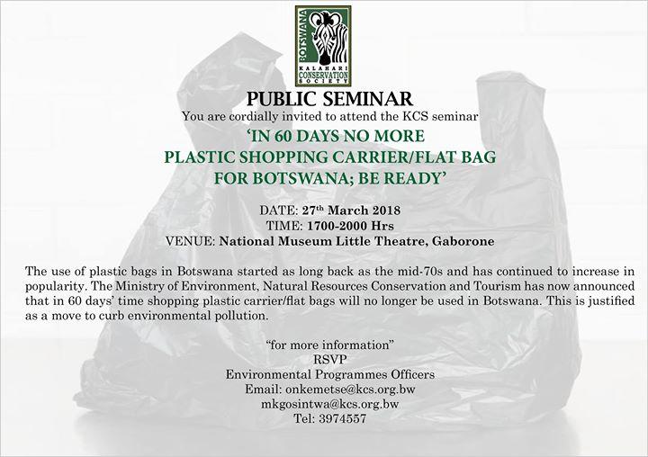 Public Seminar on Botswanas plastic bag ban at Botswana