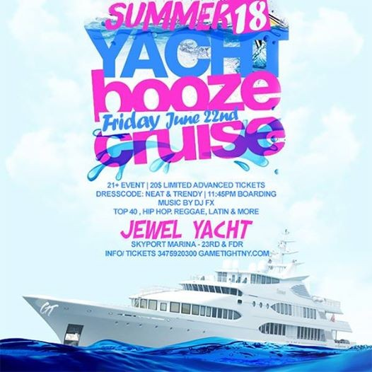 Summer NYC Yacht Booze Cruise Party Skyport Marina Jewel Yacht