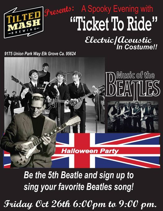 Beatles & BOO!! Ticket To Ride Electric at Tilted Mash, Oct