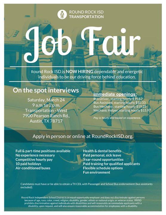 Transportation Job Fair At 7900 Pearson Ranch Rd Austin Tx 78717