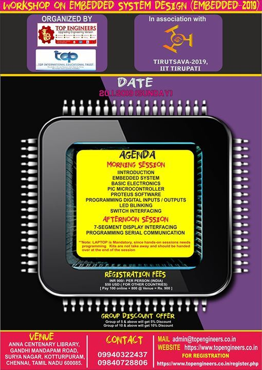 Workshop on Embedded System Design (embedded-2019) Organized B