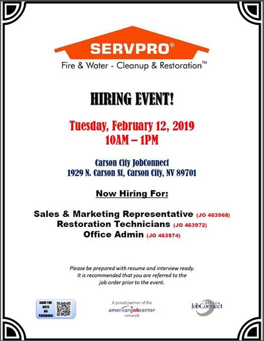 Hiring Event Servpro At 1929 N Carson St Carson City Nv 89701