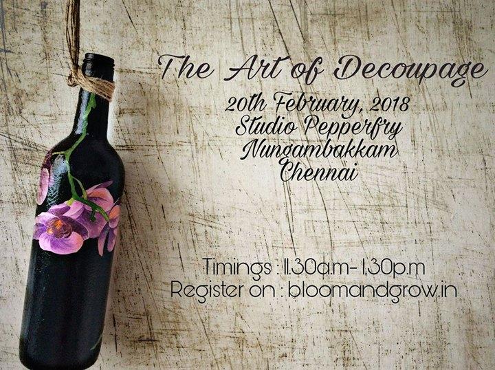 Decoupage on Bottles (Chennai Workshop)