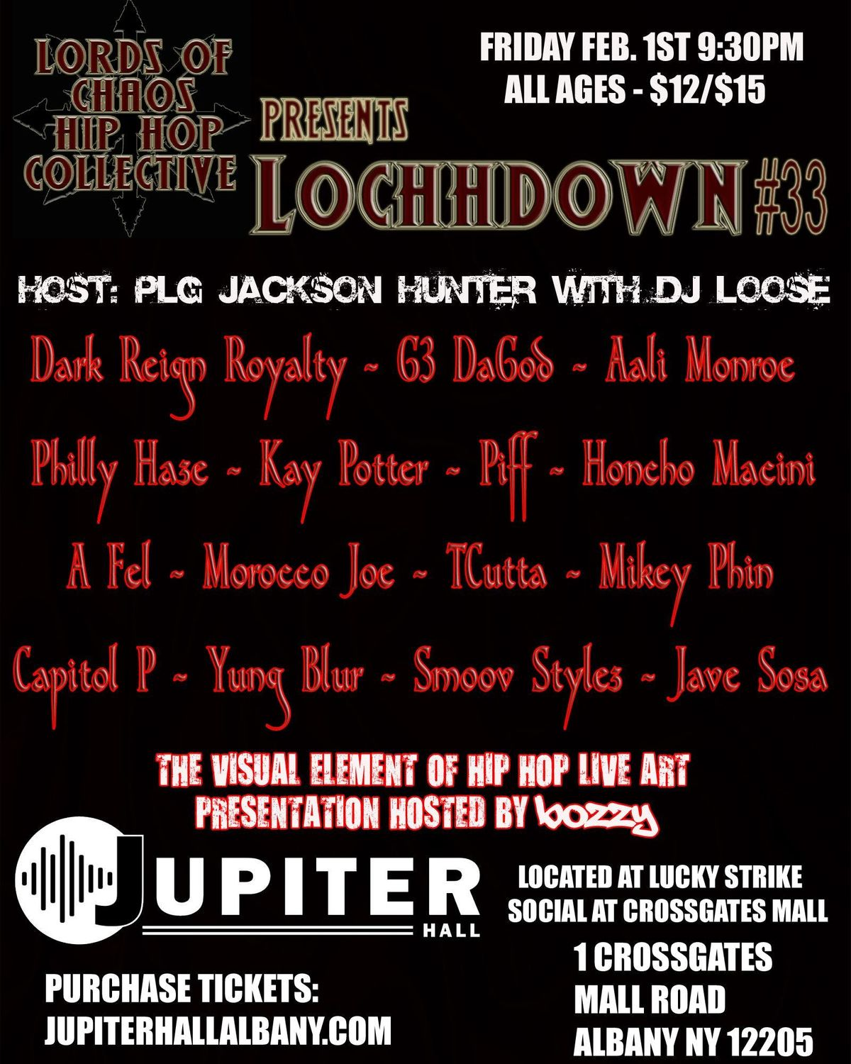 LOCHHDOWN 33 - The Visual Element of Hip Hop & live showcase - Jupiter Hall Fri Feb 1st