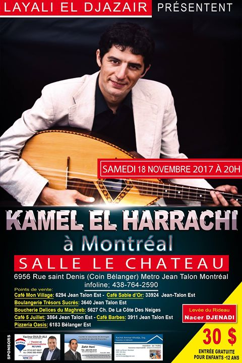 Kamel harrachi at theatre le chateau montreal event details altavistaventures Gallery