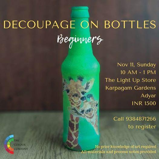 Decoupage (bottles - beginners) Chennai