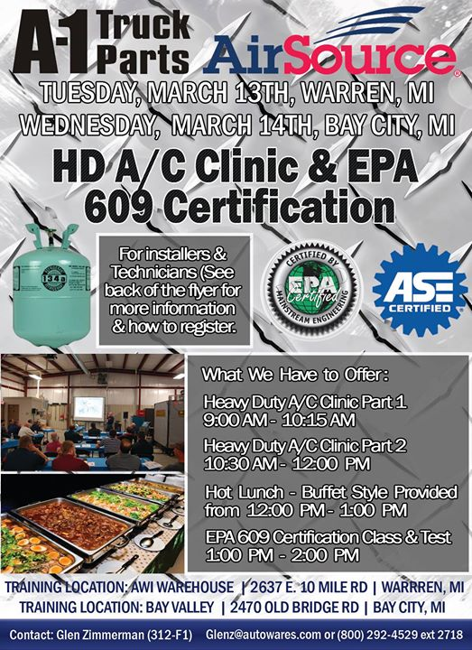 Heavy Duty A/C Clinic & EPA 609 Certification 3/14 at Bay Valley ...