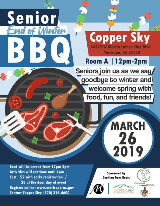 Senior BBQ - Tuesday, March 26 at City of Maricopa Copper Sky