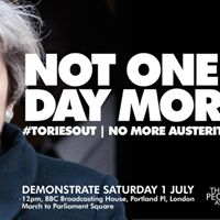 MK train to ToriesOut Nomoreausterity demo &quotNot One More Day&quot