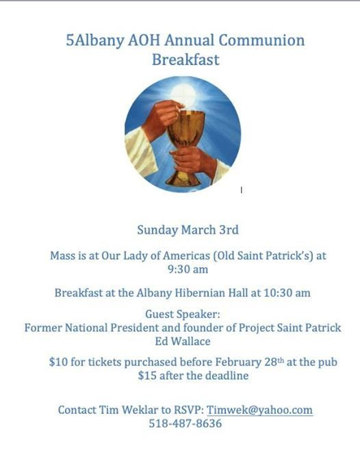 Annual Albany AOH Communion Breakfast