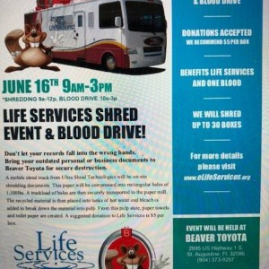 Life Services Shred Event And Blood Drive Funraiser