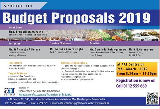 Budget Proposals 2019 at AAT Sri LankaAAT Centre, No  540