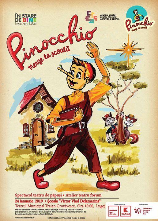 Pinocchio ajunge la Scoala Gimnaziala Sudrias com Traian Vuia