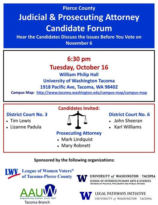 Pierce County Candidate Forum: Judicial & Prosecuting Attorney at ...