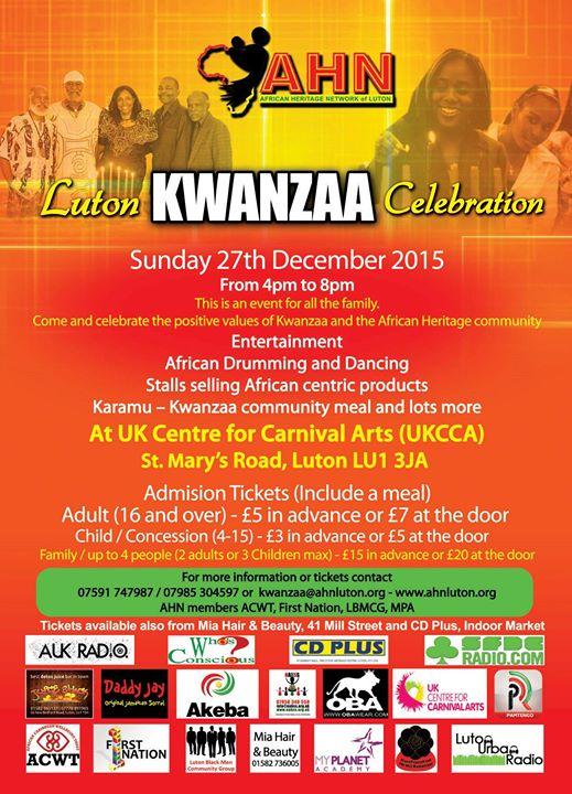 AHN Luton Kwanzaa Celebration Sun 271215 1600-2000 UKCCA
