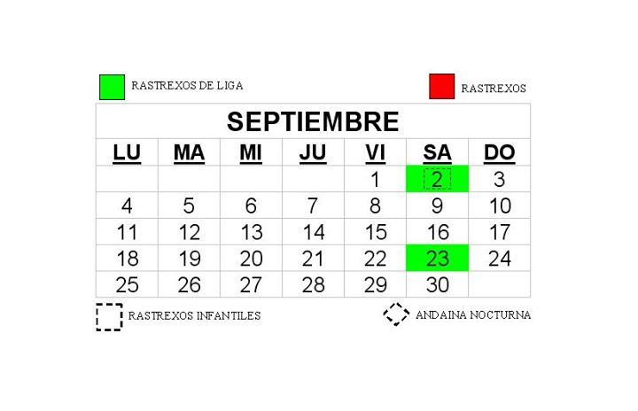 septiembre calendario de rastrexos at