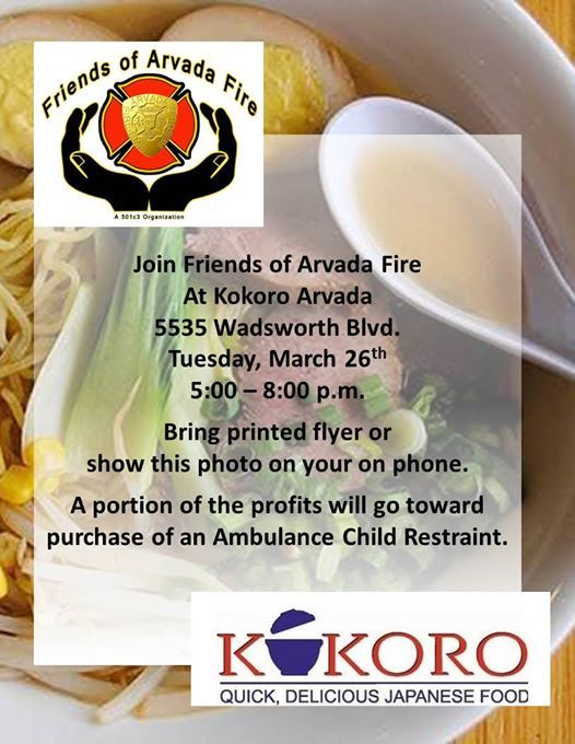 Kokoro Fundraiser for Friends of Arvada Fire