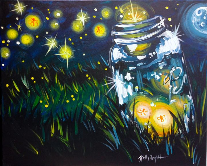 Light up canvas fireflies at painting with a twist for Painting with a twist san diego