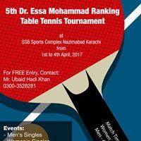 5th Dr. Essa Mohammad Ranking Table Tennis Tournament